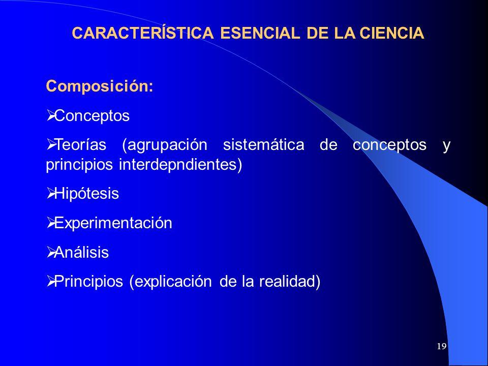 CARACTERÍSTICA ESENCIAL DE LA CIENCIA