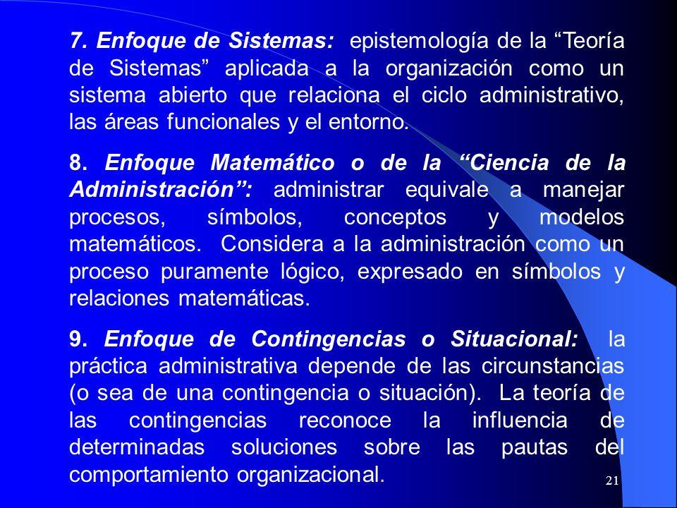 7. Enfoque de Sistemas: epistemología de la Teoría de Sistemas aplicada a la organización como un sistema abierto que relaciona el ciclo administrativo, las áreas funcionales y el entorno.