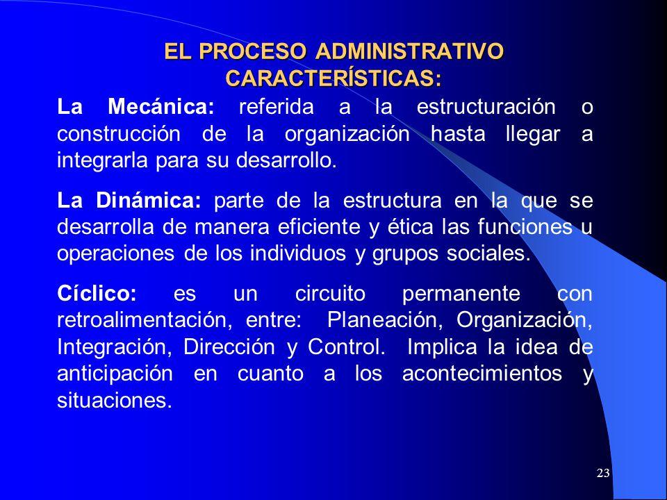 EL PROCESO ADMINISTRATIVO CARACTERÍSTICAS:
