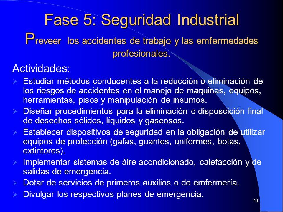 Fase 5: Seguridad Industrial Preveer los accidentes de trabajo y las emfermedades profesionales.