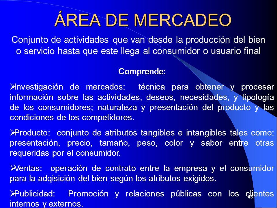 ÁREA DE MERCADEO Conjunto de actividades que van desde la producción del bien o servicio hasta que este llega al consumidor o usuario final.