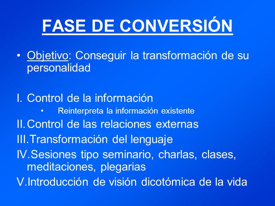 FASE DE CONVERSIÓN Objetivo: Conseguir la transformación de su personalidad. Control de la información.