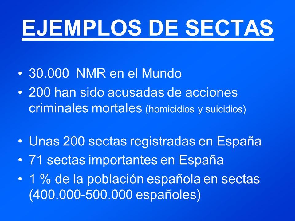 EJEMPLOS DE SECTAS 30.000 NMR en el Mundo