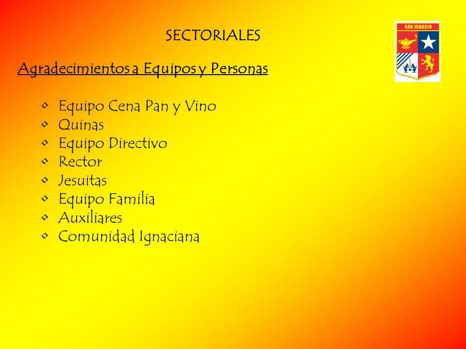 SECTORIALES Agradecimientos a Equipos y Personas. Equipo Cena Pan y Vino. Quinas. Equipo Directivo.