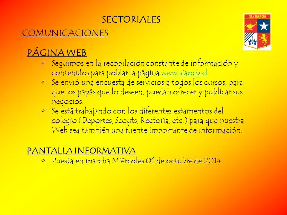 SECTORIALES COMUNICACIONES PÁGINA WEB PANTALLA INFORMATIVA