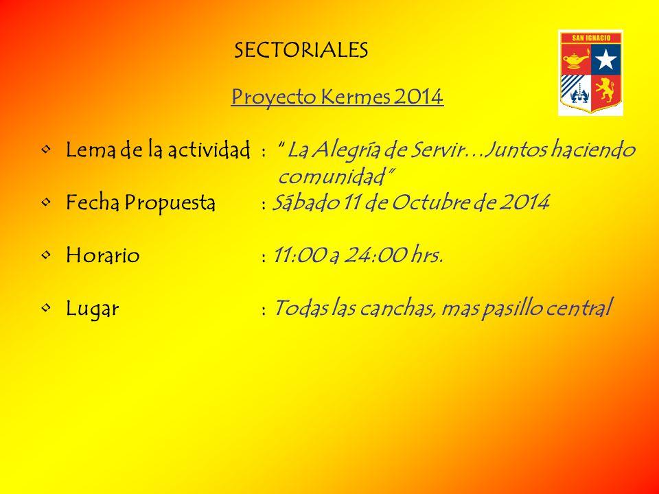 SECTORIALES Proyecto Kermes 2014. Lema de la actividad : La Alegría de Servir…Juntos haciendo comunidad
