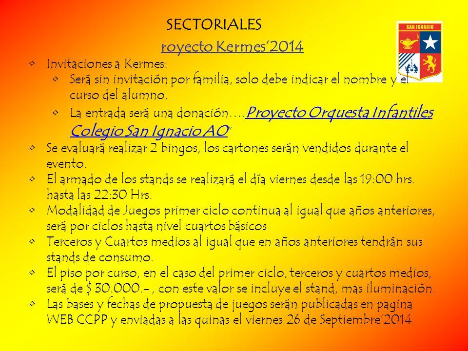 SECTORIALES royecto Kermes'2014 Invitaciones a Kermes: