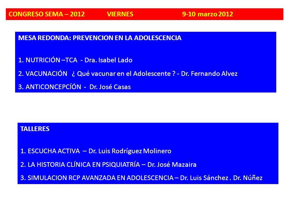 CONGRESO SEMA – 2012 VIERNES 9-10 marzo 2012