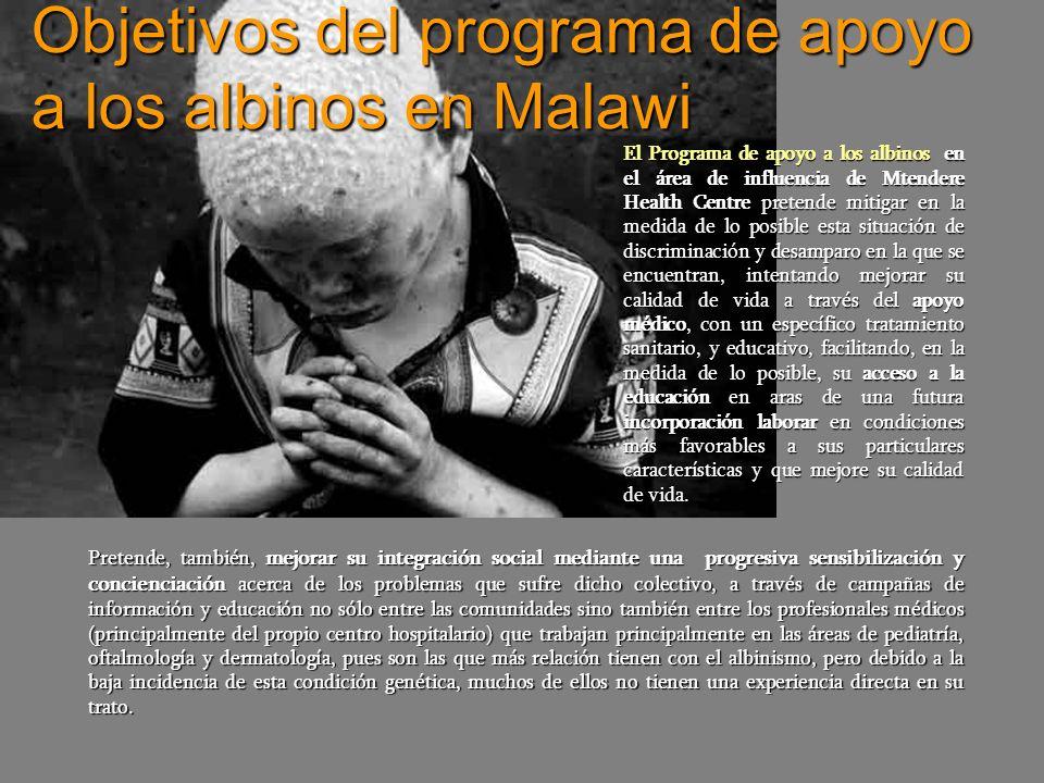 Objetivos del programa de apoyo a los albinos en Malawi