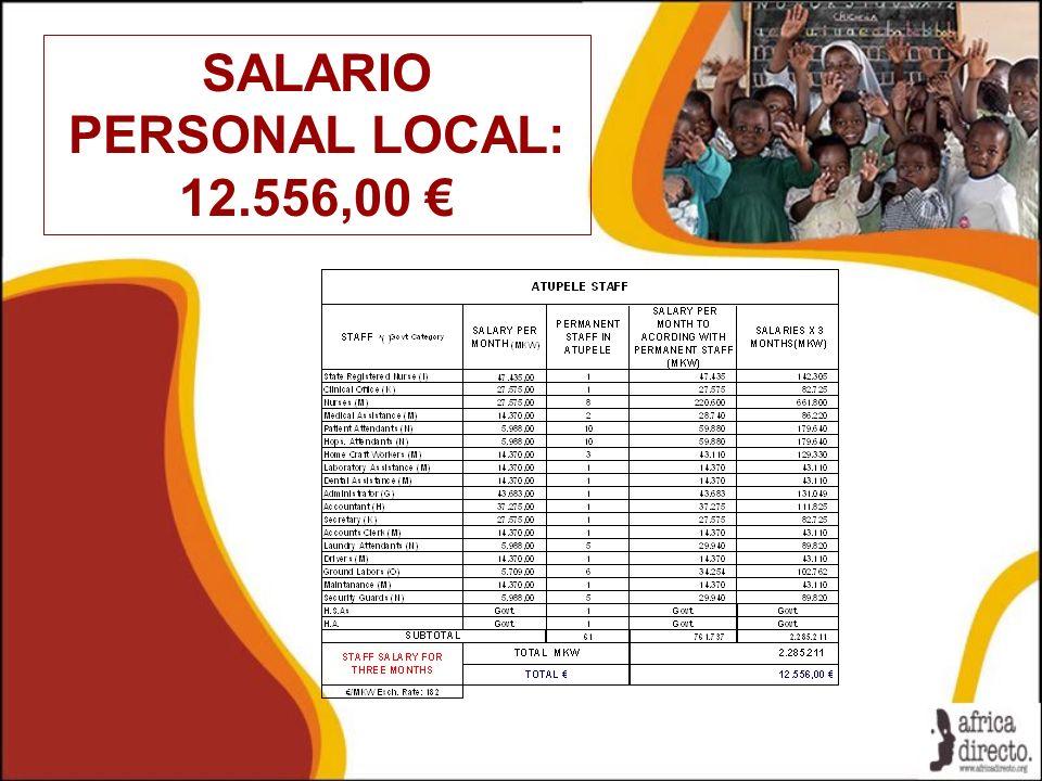SALARIO PERSONAL LOCAL: 12.556,00 €