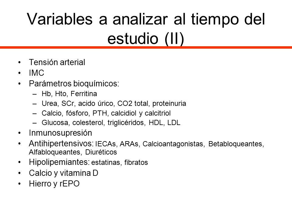 Variables a analizar al tiempo del estudio (II)