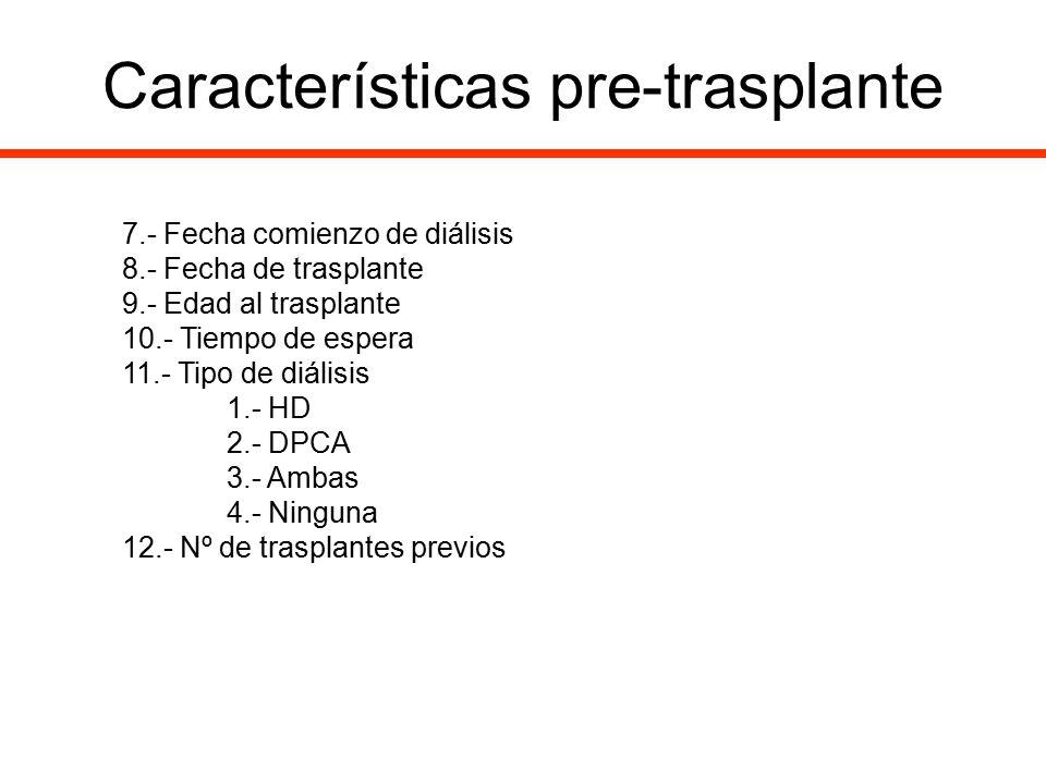 Características pre-trasplante