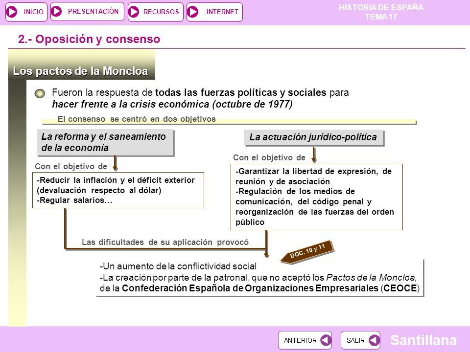 2.- Oposición y consenso Los pactos de la Moncloa