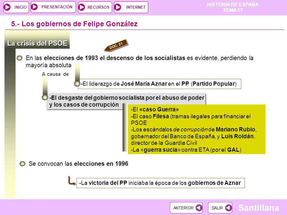 5.- Los gobiernos de Felipe González