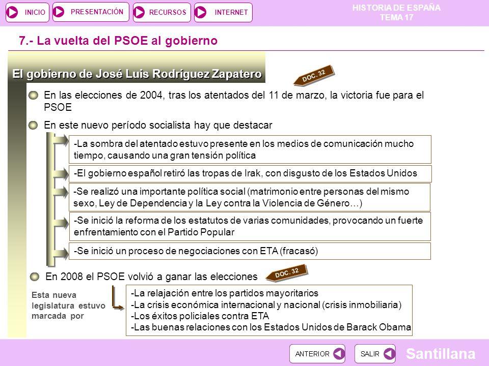 7.- La vuelta del PSOE al gobierno