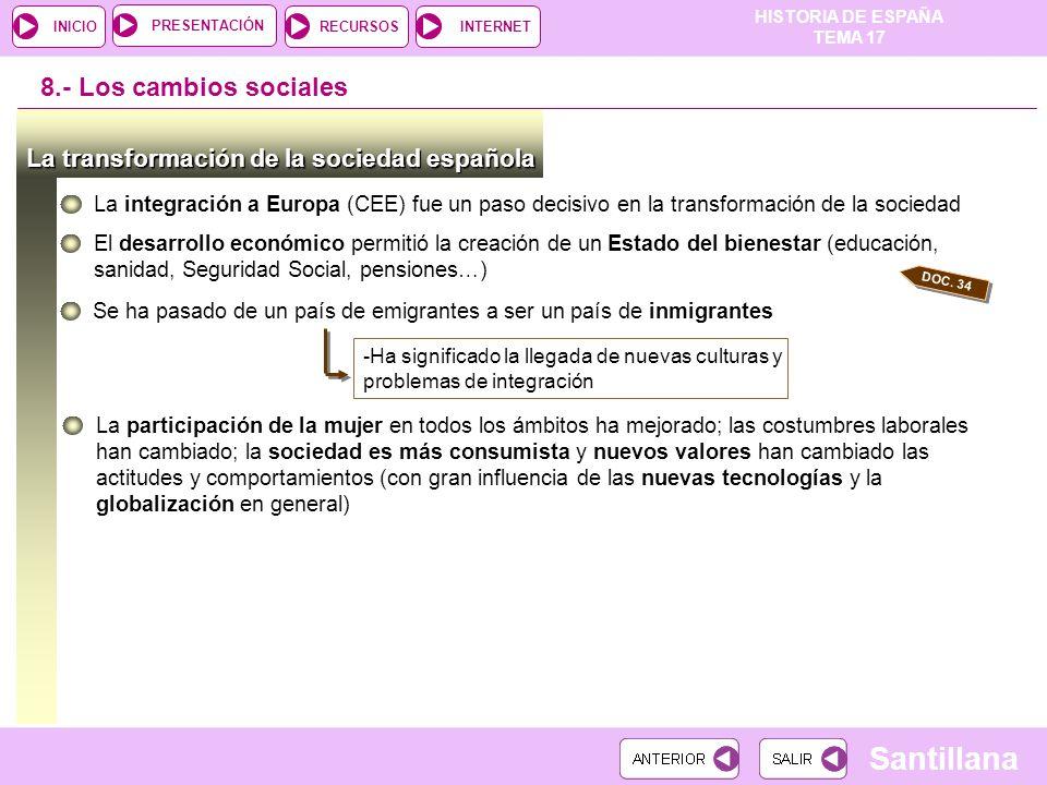 8.- Los cambios sociales La transformación de la sociedad española