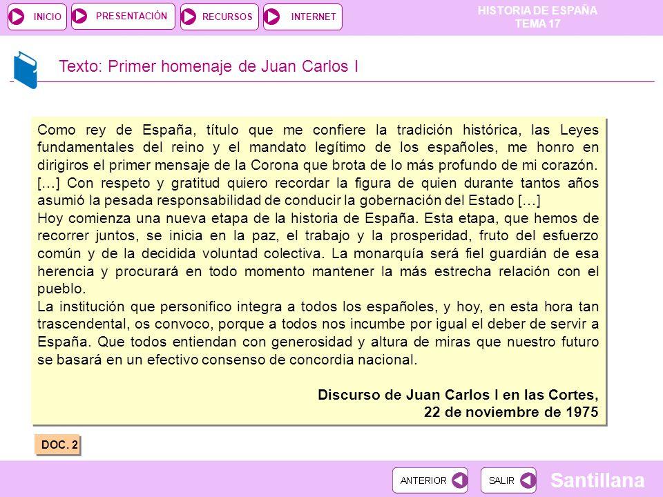 Texto: Primer homenaje de Juan Carlos I