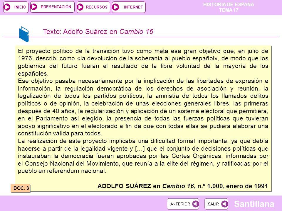 Texto: Adolfo Suárez en Cambio 16