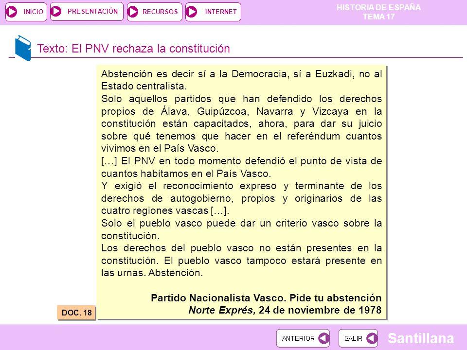 Texto: El PNV rechaza la constitución