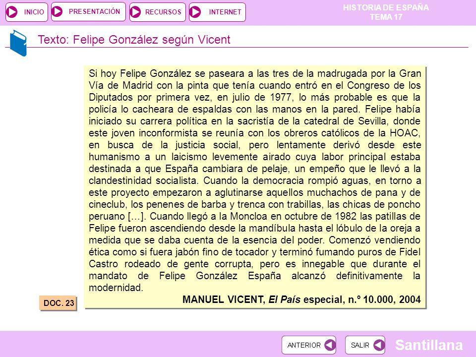 Texto: Felipe González según Vicent