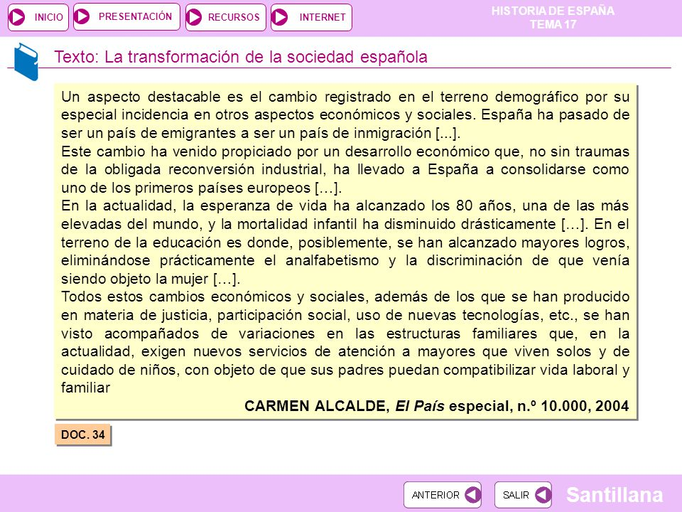 Texto: La transformación de la sociedad española