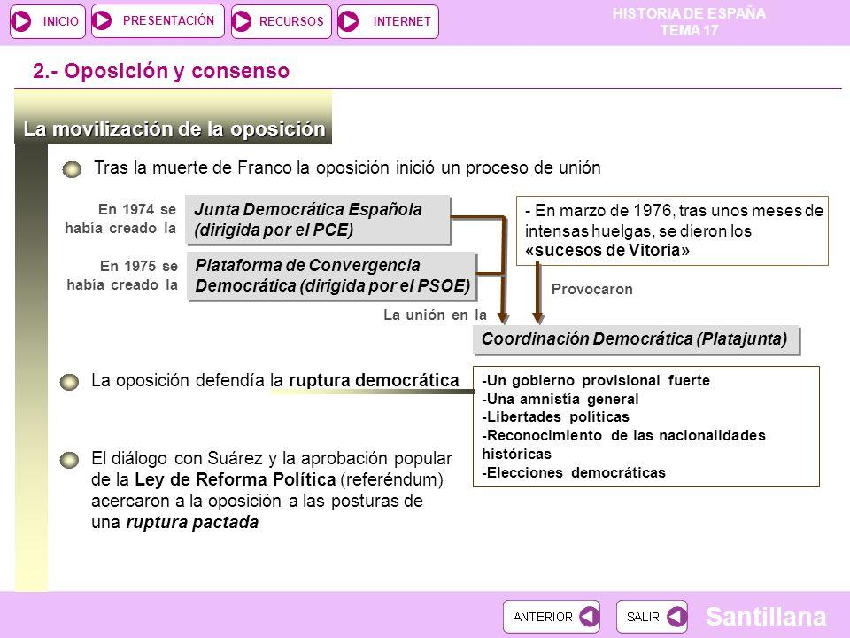 2.- Oposición y consenso La movilización de la oposición