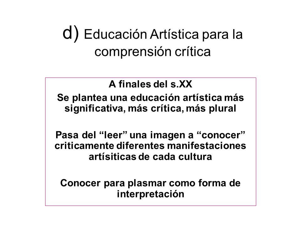 d) Educación Artística para la comprensión crítica