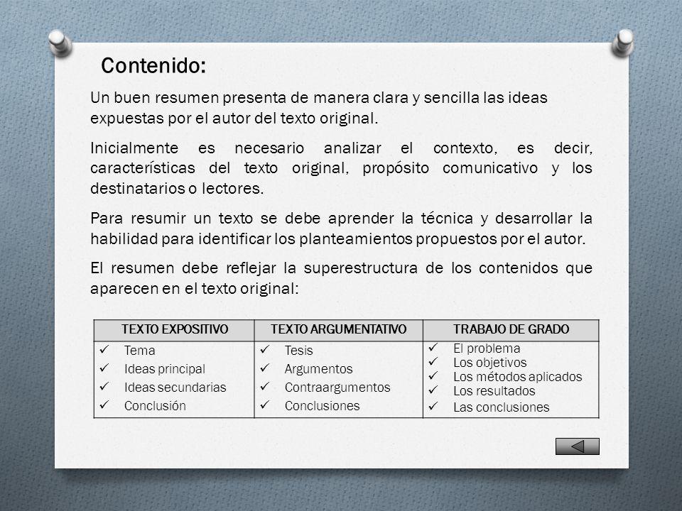 Propósitos del Resumen Identificación de Contenidos - ppt video ...