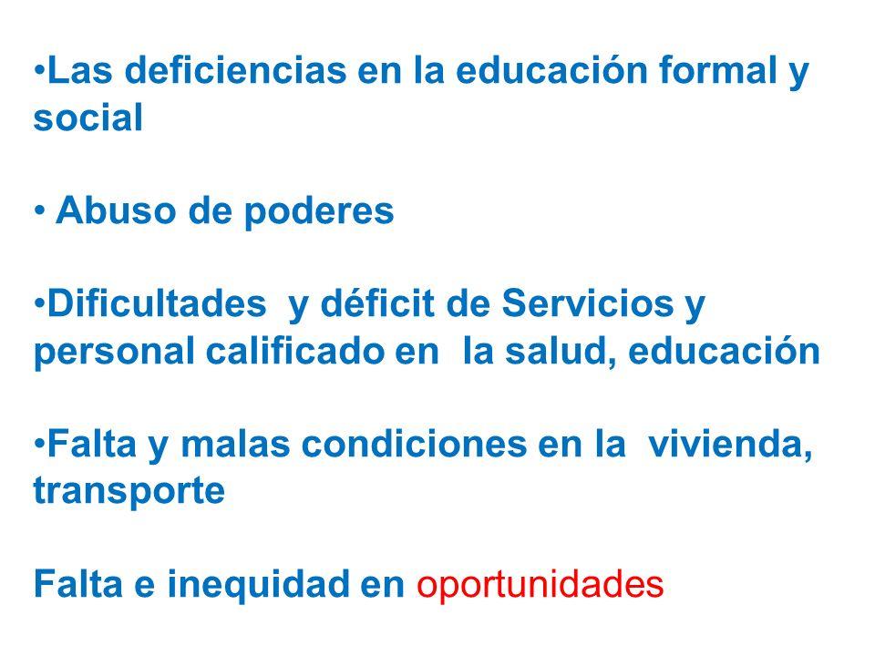 Las deficiencias en la educación formal y social