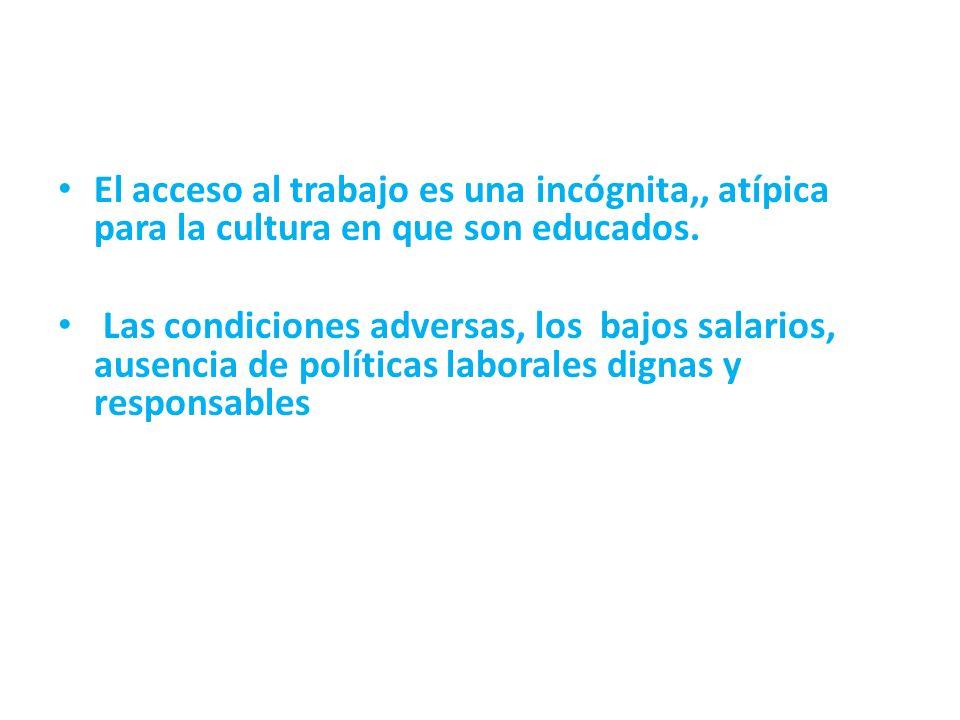 El acceso al trabajo es una incógnita,, atípica para la cultura en que son educados.