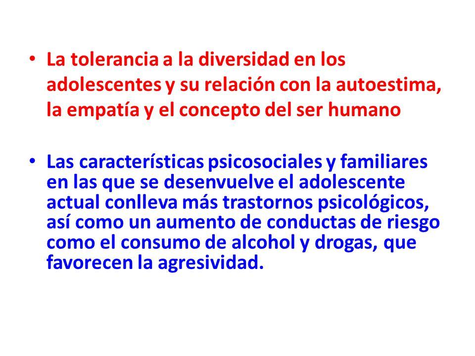 La tolerancia a la diversidad en los adolescentes y su relación con la autoestima, la empatía y el concepto del ser humano