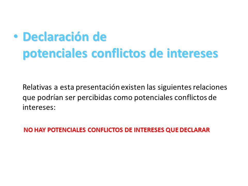 Declaración de potenciales conflictos de intereses