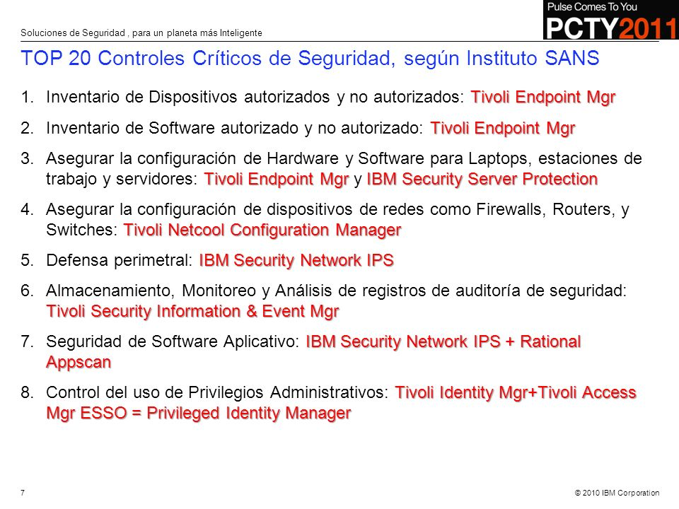 TOP 20 Controles Críticos de Seguridad, según Instituto SANS