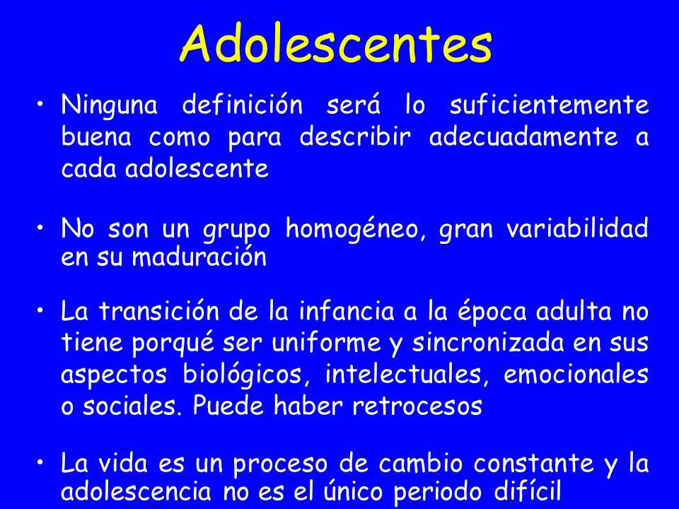 Adolescentes Ninguna definición será lo suficientemente buena como para describir adecuadamente a cada adolescente.