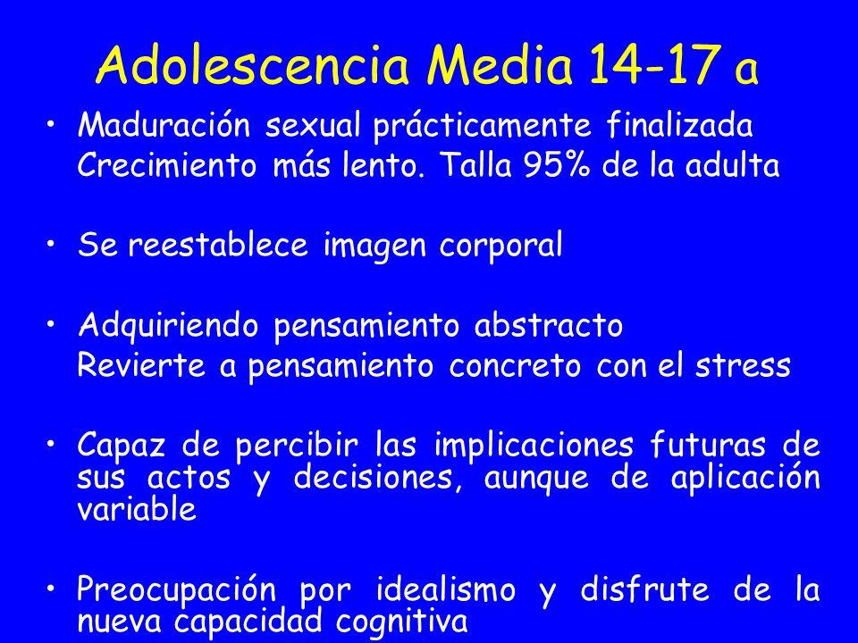 Adolescencia Media 14-17 a Maduración sexual prácticamente finalizada