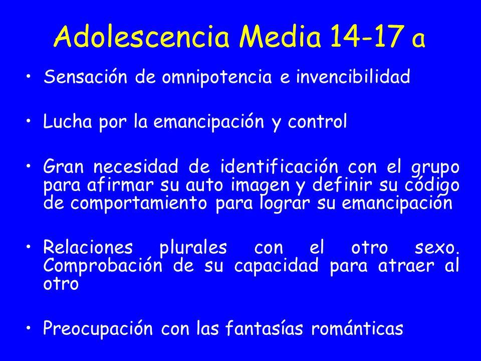 Adolescencia Media 14-17 a Sensación de omnipotencia e invencibilidad