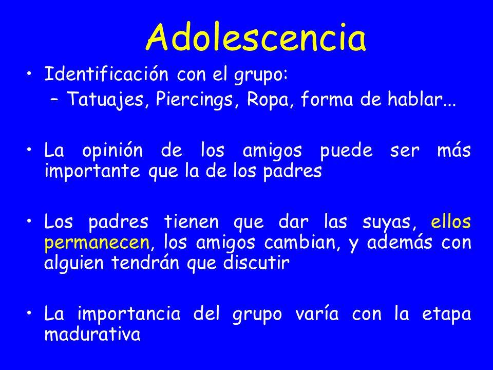 Adolescencia Identificación con el grupo: