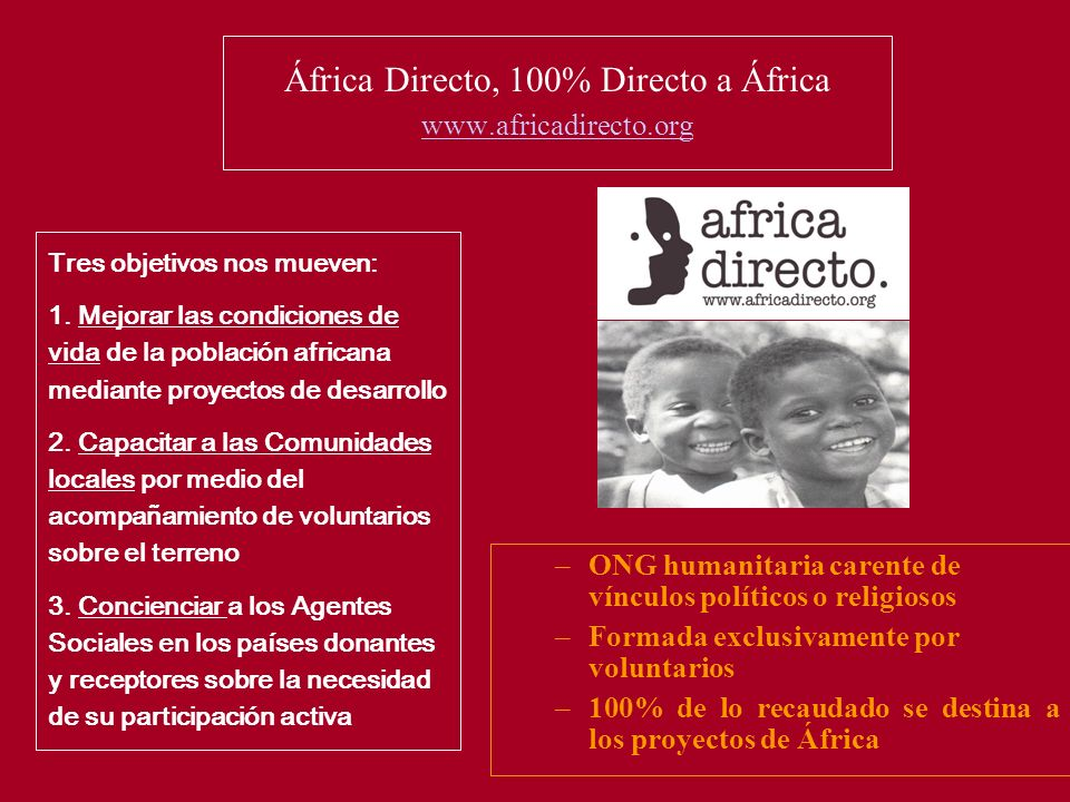África Directo, 100% Directo a África www.africadirecto.org