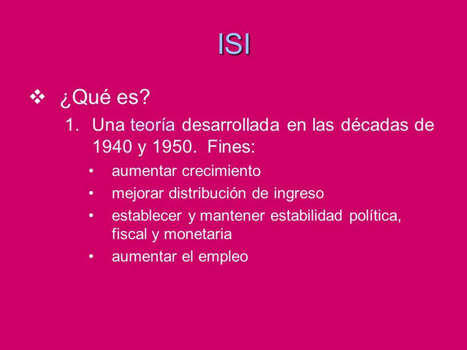 ISI ¿Qué es Una teoría desarrollada en las décadas de 1940 y 1950. Fines: aumentar crecimiento.