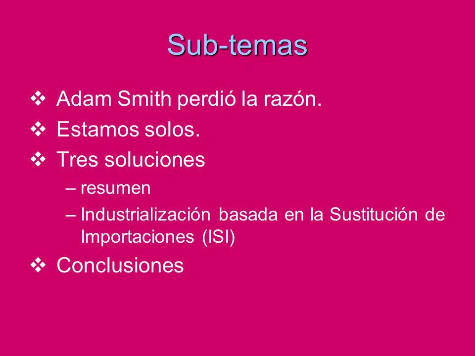 Sub-temas Adam Smith perdió la razón. Estamos solos. Tres soluciones