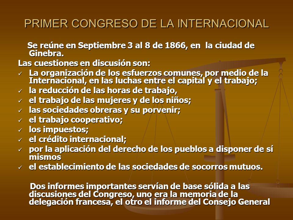 PRIMER CONGRESO DE LA INTERNACIONAL