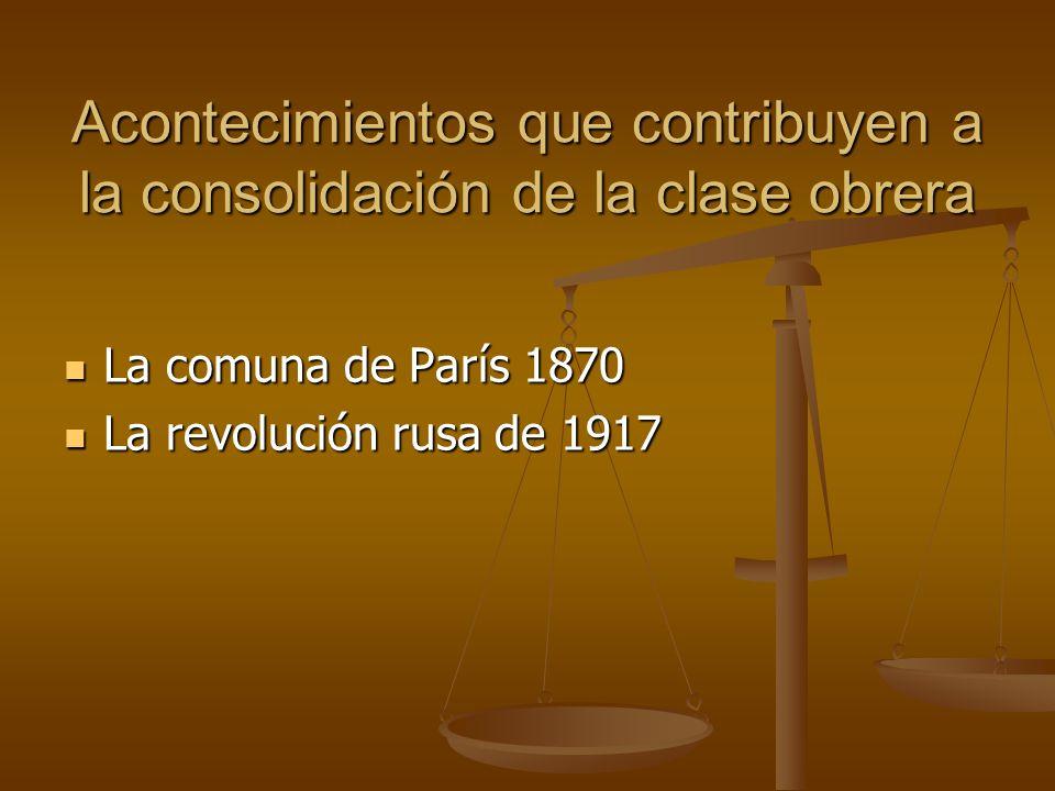 Acontecimientos que contribuyen a la consolidación de la clase obrera