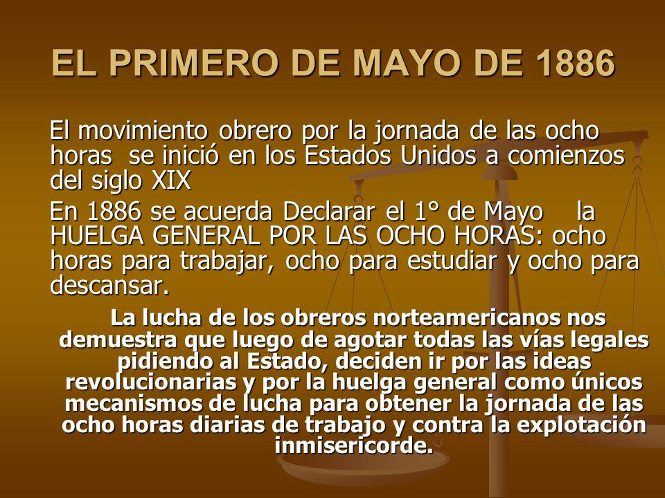 EL PRIMERO DE MAYO DE 1886 El movimiento obrero por la jornada de las ocho horas se inició en los Estados Unidos a comienzos del siglo XIX.