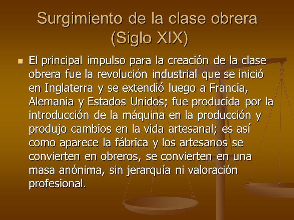 Surgimiento de la clase obrera (Siglo XIX)