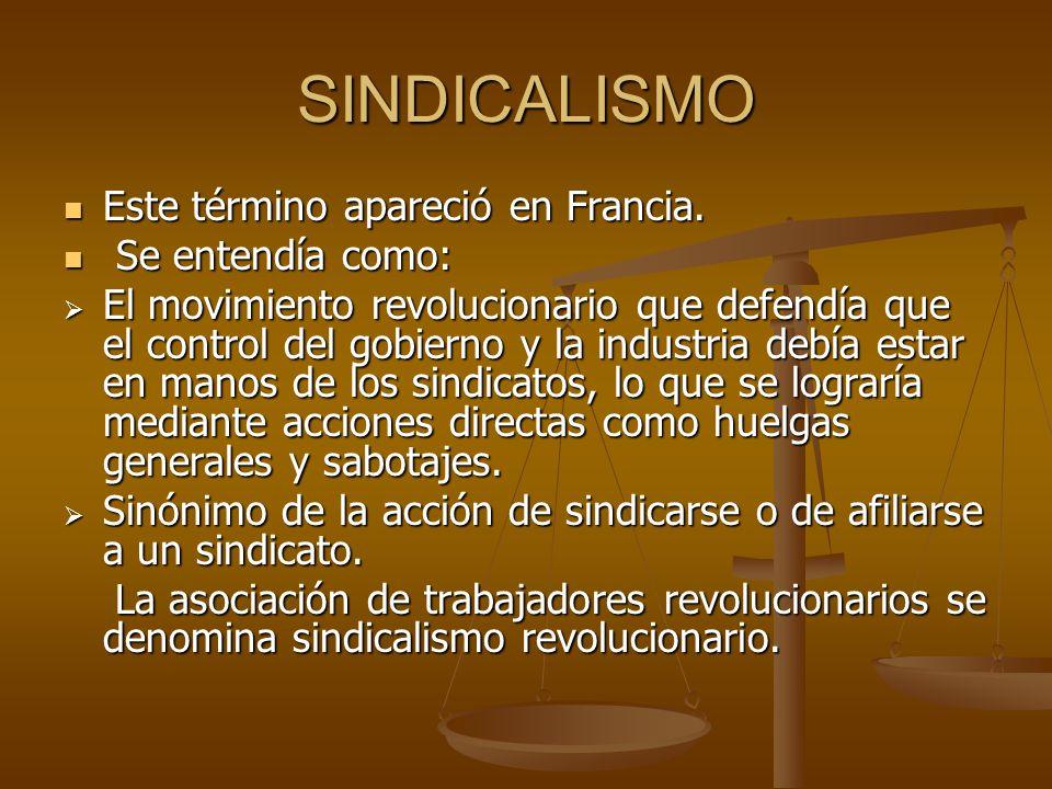 SINDICALISMO Este término apareció en Francia. Se entendía como: