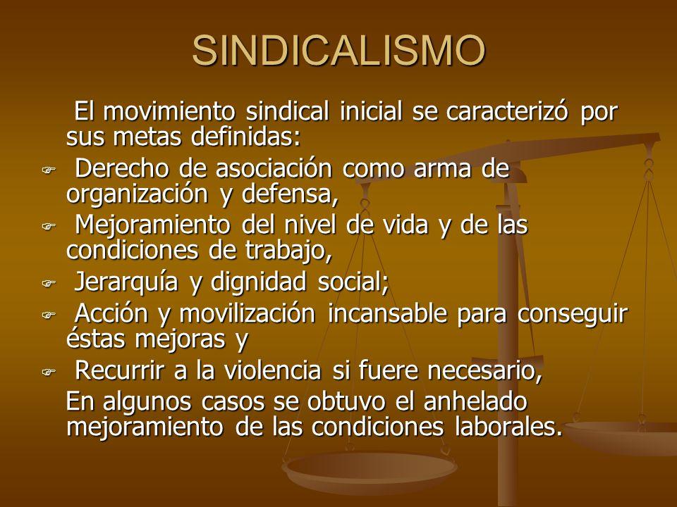 SINDICALISMO El movimiento sindical inicial se caracterizó por sus metas definidas: Derecho de asociación como arma de organización y defensa,