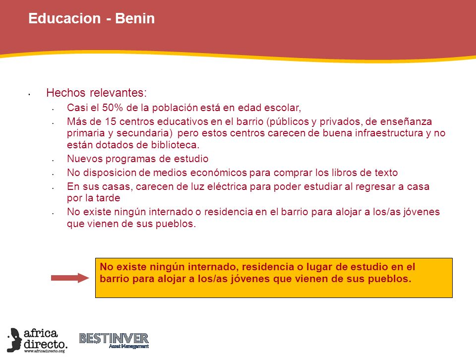 Educacion - Benin 44 Hechos relevantes: