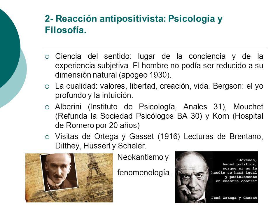 2- Reacción antipositivista: Psicología y Filosofía.