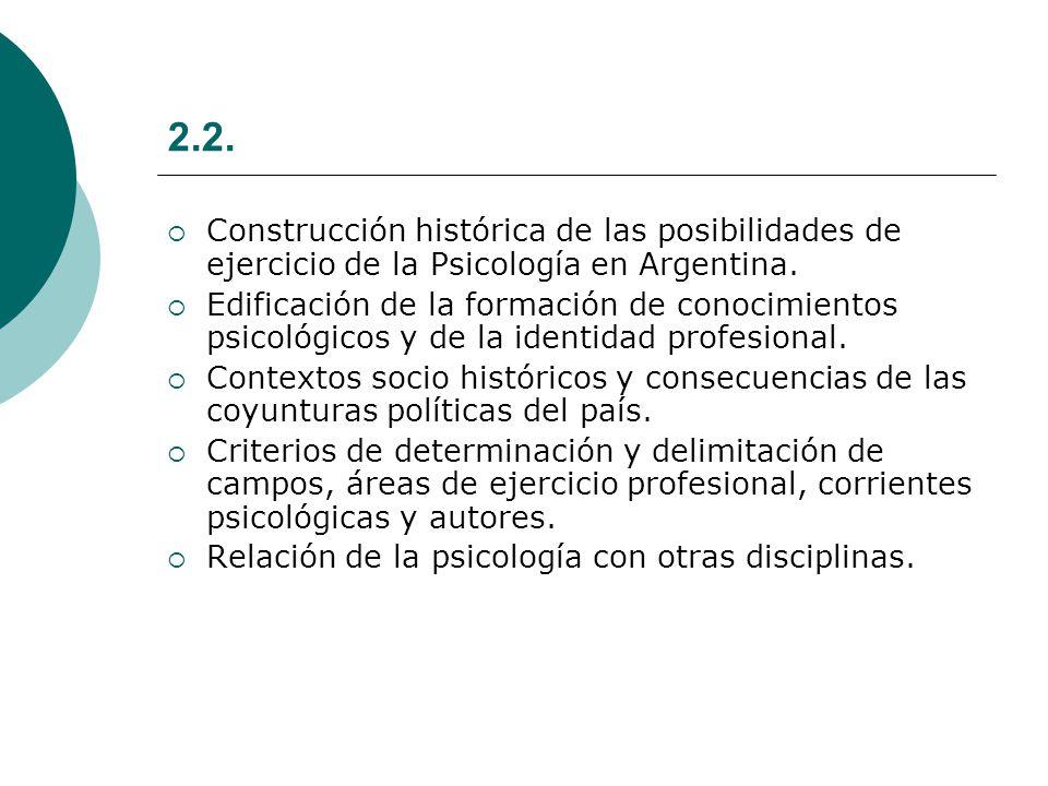 2.2. Construcción histórica de las posibilidades de ejercicio de la Psicología en Argentina.
