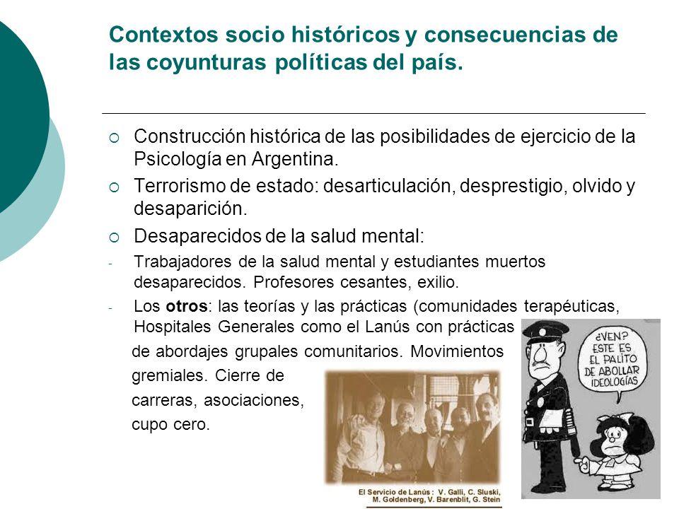 Contextos socio históricos y consecuencias de las coyunturas políticas del país.